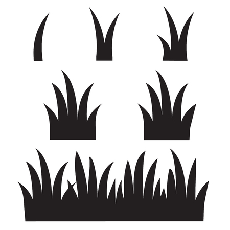 grass icon on white background. flat style. black grass silhouettes icon for your web site design