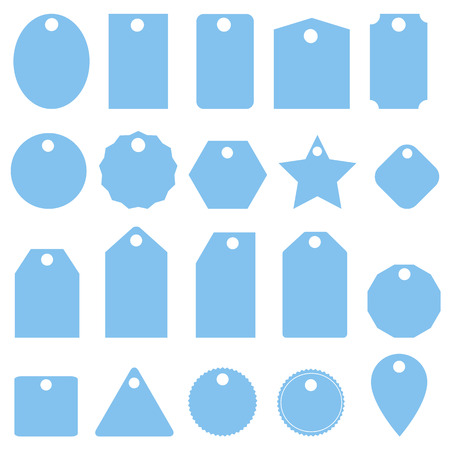 set blue price tags icon on white background. flat style. set price tags icon for your web site design, logo, app, UI. label symbol. gift tags sign.
