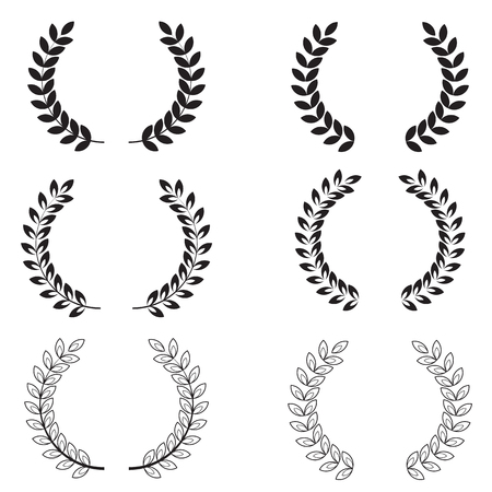 Laurel wreaths set on white background. Collection of black and white circular laurel wreaths for your web site design Иллюстрация