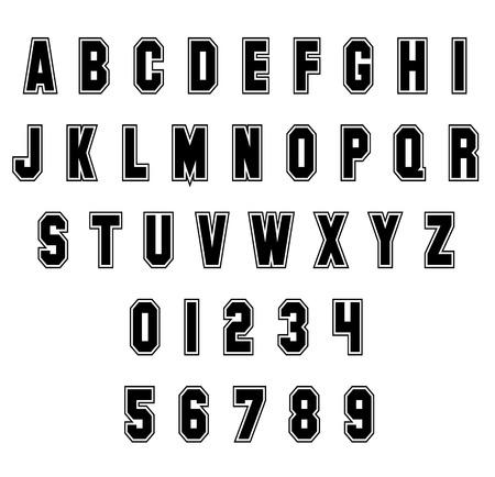 Lettres et chiffres de l'alphabet sport sur fond blanc. Police de sport vintage. Vecteur de lettres et de chiffres.