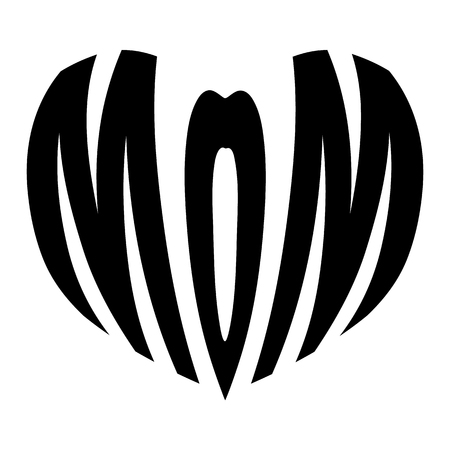 mom in heart icon on white background. flat style. mothers day sign for your web site design, logo, app, UI. mom in heart symbol. mama sign. 向量圖像
