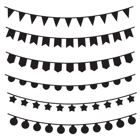 6 Bunting Banner on white background. flat style. Garland sign for your web site design, Pennant symbol. Birthday Banner sign.