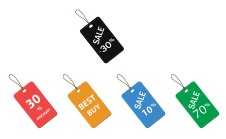 multicolor label tags set isolated on white background. price tags sign. flat style. sale tag set. multi labels symbol. all color sale labels.