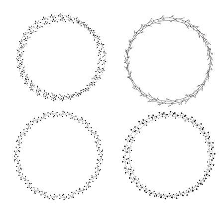 Set Hand draw Wreath icon on white background. flat style. Иллюстрация