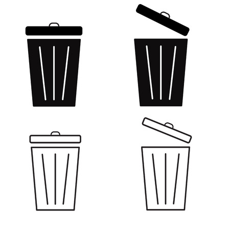 trash sign on white background. bin symbol. flat style. arrow icon for your web site design