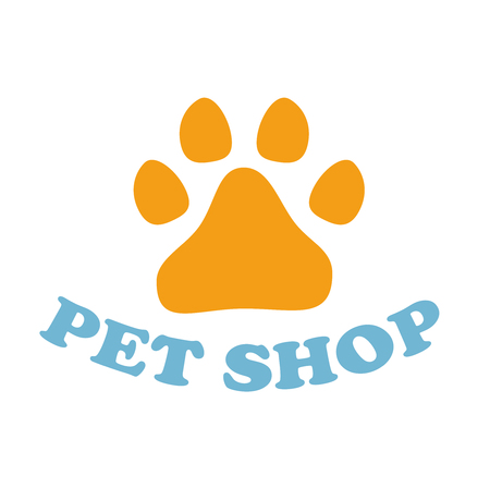 Paw Print on white background. Dog paw for pet shop icon template. paw sign. Фото со стока
