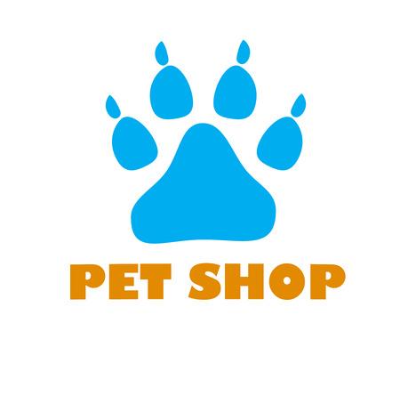 Paw Print on white background. Dog paw Logo. pet shop logo. dog pet shop simple logo icon template. paw sign. Фото со стока