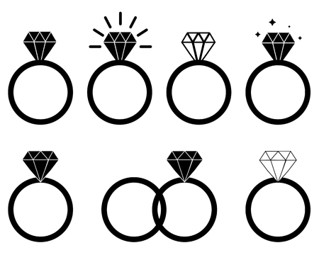 diamond engagement ring on white background. Diamond Ring icon for your web site design