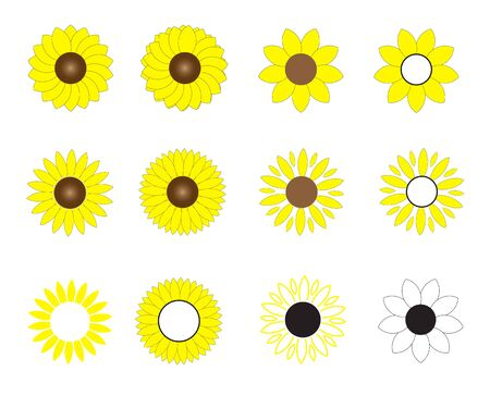 sunflowers icon on white background. flat style. sun flowers  icon for your web site design, Иллюстрация