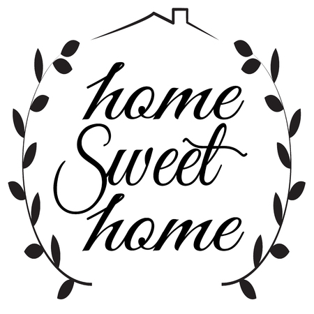 Home Sweet Home sign on white background. flat style. Home Decor sign for your web site design, logo, app, UI. Sweet Home symbol. Sweet Home laurel wreath sign.  向量圖像