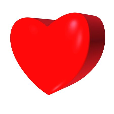 Red Heart 3D on white background. Valentine Day sign. Shiny 3D of a heart. 3d red heart icon for your web site design