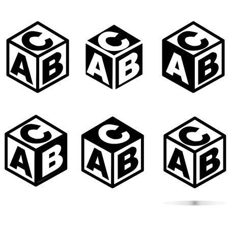 ABC block sing on white background. flat style. abc cubes icon for your web site design,