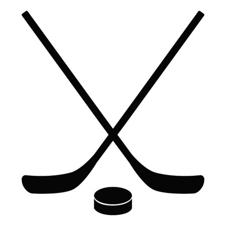 Hockey icon on white background. flat style. stick and washer icon for your web site design