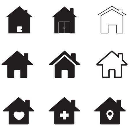 icône de maisons sur fond blanc. style plat. icône de maisons pour la conception, l'application, l'interface utilisateur de votre site Web. symbole de l'immobilier. signe de la maison.