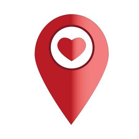 Kartenzeiger mit Herzsymbol auf weißem Hintergrund. flacher Stil. Liebe Standortsymbol für Ihr Website-Design, App, Benutzeroberfläche. Standort-Pin-Symbol. Kartenpunktzeichen.
