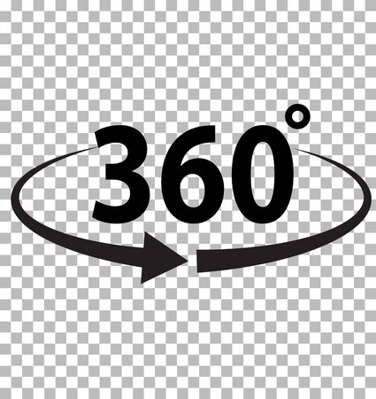 360 degrees icon on transparent background. flat style. 360 degrees sign. rotate 360 degrees icon for your web site design, logo, app, UI. angle 360 degree symbol. Иллюстрация