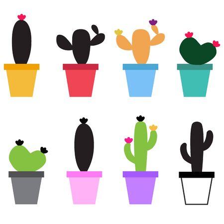 Cute Cactus icon on white background. flat style. Set Cute Cactus icon for your web site design, app, UI. split arrow symbol. black arrow sign.