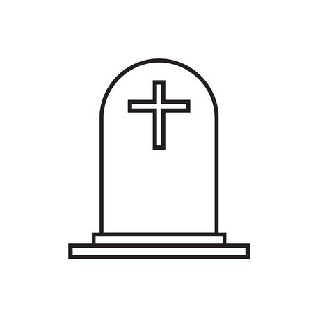 tombstone with cross icon on white background. flat style. grave icon for your web site design, logo, app, UI. gravestone symbol. funeral sign.