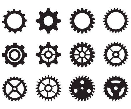 icône de roues dentées sur fond blanc. style plat. icône d'engrenage pour la conception, le logo, l'application, l'interface utilisateur de votre site Web. symbole de roue dentée d'icône. ensemble d'icônes d'engrenage. Logo