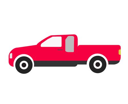 pickup truck icon on white background. flat style. red pickup truck sign for your web site design, logo, app, UI. thailand pickup symbol