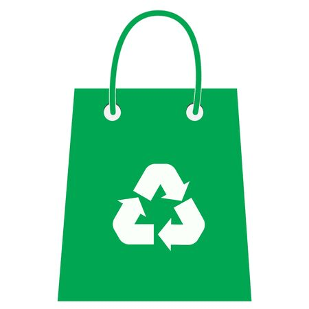 Paper shopping bag with recycle icon on white background. flat style. Bag with recycling icon for your web site design, app, UI. Bag with recycling symbol. Eco bag sign.