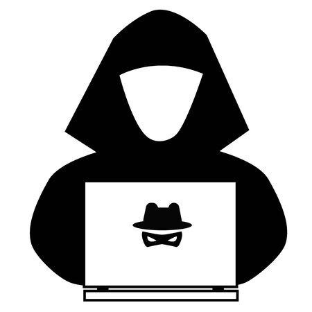 hacker icon on white background. flat style. anonymous spy icon for your web site design, app, UI. spy agent searching on laptop. cyber crime sign.