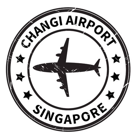 changi airport singapore stamp on white background. changi airport singapore. airport stamp sign. Singapore aerodrome symbol. 矢量图像