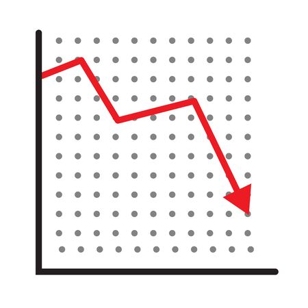 trend down graph icon. stock icon on white background. flat style. financial market crash icon for your web site design, app, UI. graph chart downtrend symbol. chart going down sign.