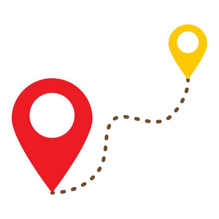 start location end location icon on white background. flat style. pointer start and stop icon for your web site design, app, UI. route location symbol. distance locations sign. Çizim