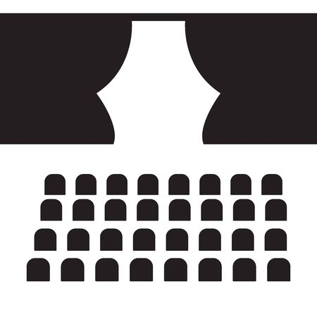 theater stage icon on white background. flat style. theater curtain icon for your web site design, app, UI. cinema symbol. theater stage sign.