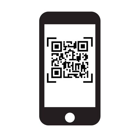 scan QR code with mobile phone icon on white background. flat style. qr code on mobile phone symbol.