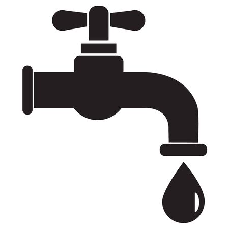 Dripping tap with drop icon on white background. flat style. Water tap icon for your web site design, app, UI. tap symbol. Water Faucet with drop sign.  イラスト・ベクター素材