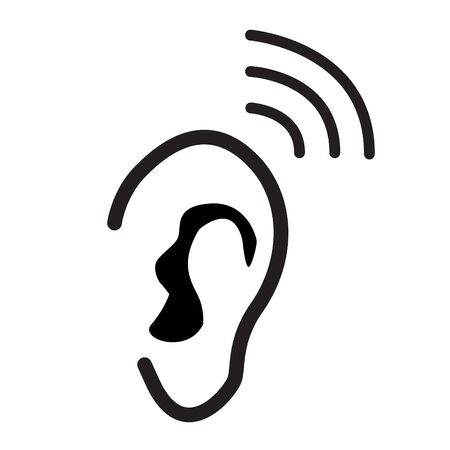 ear icon on white background. flat style. ear icon template black for your web site design, logo, app, UI. hearing symbol. hearing sign. 일러스트