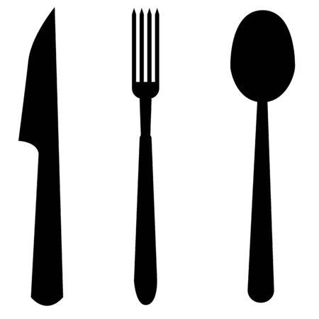 cucchiaio, forchetta e coltello icona su priorità bassa bianca. stile piatto. simbolo di posate. segno della cucina. Vettoriali