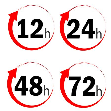 12, 24, 48 and 72 hours clock arrow icon on white background. flat style. delivery service time icons for your web site design, app, UI. work time effect symbol. clock arrow sign.