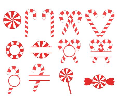 christmas candy cane on white background. set of red sweetmeats. candy cane sign. candy cane and lollipop symbol.