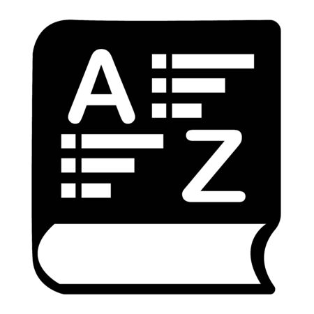 vocabulary icon on white background. flat style. book glossary sign. dictionary symbol. Imagens - 136161993