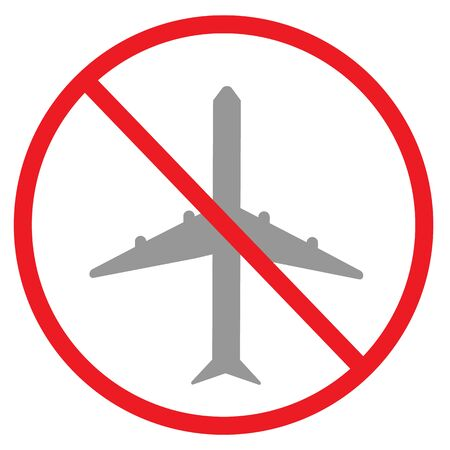 forbidden plane icon on white background. flat style. red prohibition sign do not fly Planes !. no fly zone symbol.
