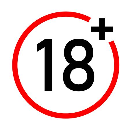 under 18 not allow icon on white background. flat style. 18 plus icon for your web site design, logo, app, UI. number eighteen in red crossed circle symbol. 18+ sign.