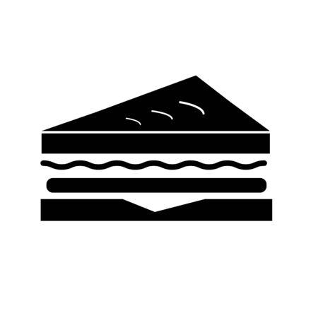 icône de sandwich sur fond blanc. style plat. icône sandwich pour la conception, l'application, l'interface utilisateur de votre site Web. symbole du déjeuner. notion de nourriture. signe de petit déjeuner.