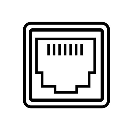 lan network port icon on white background. flat style. local area connector icon for your web site design, logo, app, UI. network port symbol. network port sign.