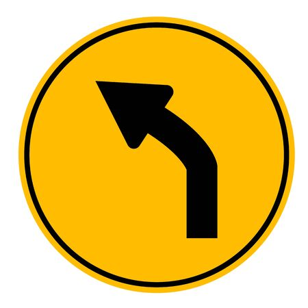 left curve ahead traffic on white background. flat style. left curve traffic sign.
