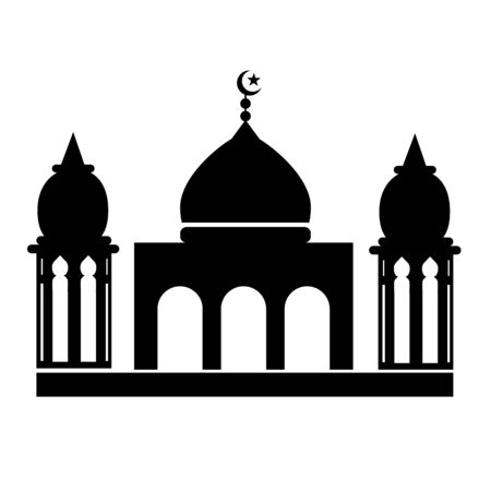 mosque icon on white background. flat style. crescent moon and mosque icon for your web site design, logo, app, UI. mosque symbol. Islamic sign.