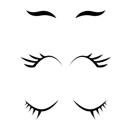 set of cartoon closed eyes icons. eyelashes sign. closed eye border symbol.
