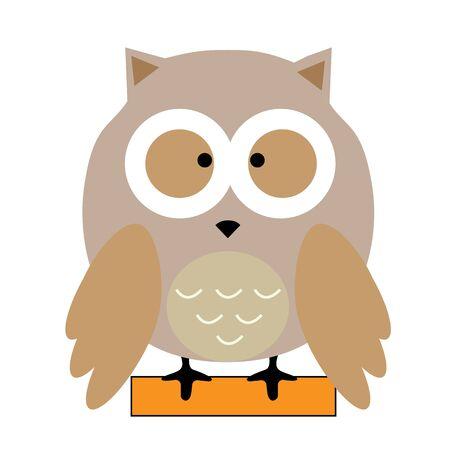 owl on brick icon on white background. owl sitting on brick symbol.