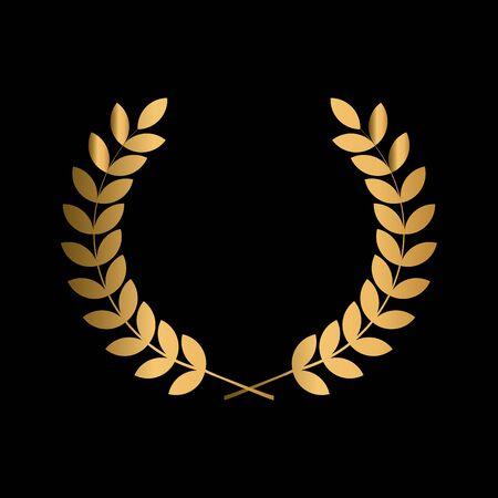 winner label sign. leaf symbol victory. gold award laurel wreath.