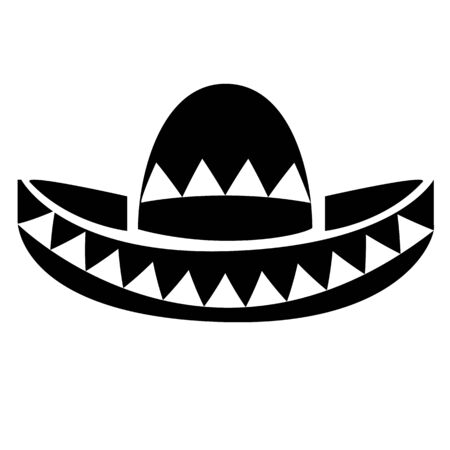 mexican sombrero hat on white background. latino symbol. traditional hat sign. Vettoriali