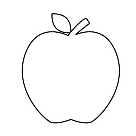 Apple outline shape icon on white background. Apple sign.