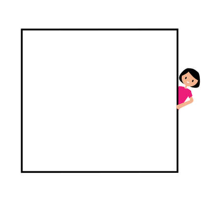 girl holding blank sign. your text here. girl peeping from behind a blank board mock up. Ilustração