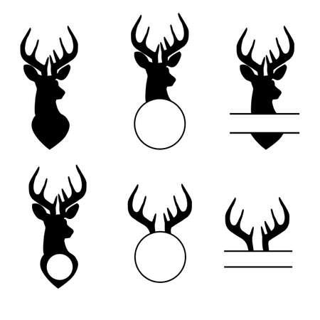 deer monogram, wild animal sign, black buch head, hunting split nonogram on white background. flat style.